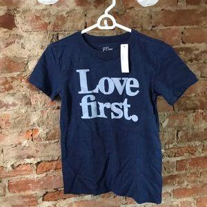 J crew xxs love first t shirt